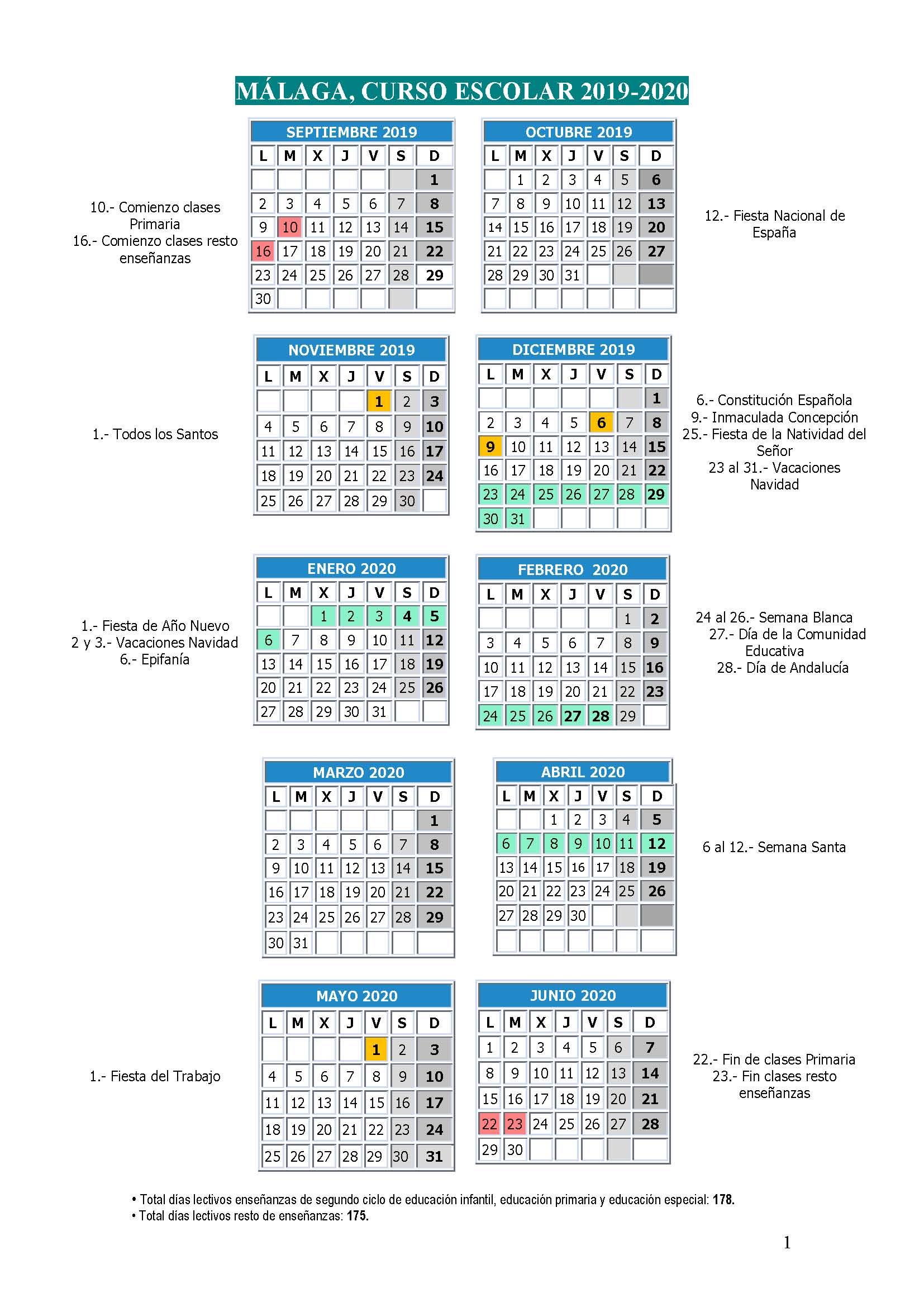 Imagen de la noticia: Calendario Escolar en Málaga para el curso 2019-2020 [Actualizado]
