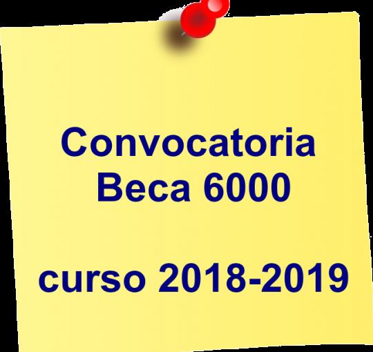 Imagen de la noticia: Resolución definitiva de la convocatoria de beca 6000 para el curso 2018-2019. [Actualizado]
