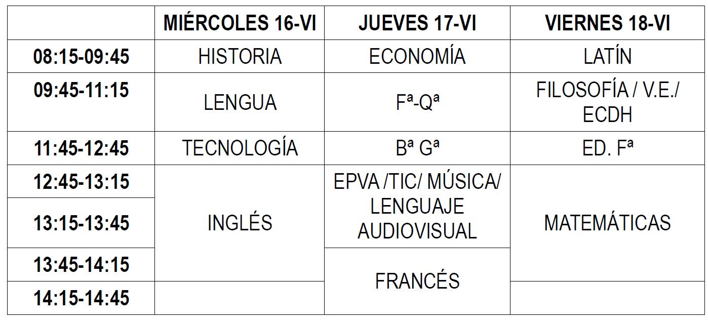 Imagen de la noticia: Calendario de Exámenes Extraordinarios para 4º ESO y 2º BACHILLERATO [Actualizado]